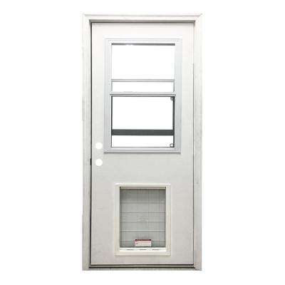32 in. x 80 in. Classic Vented Half Lite RHIS White Primed Textured Fiberglass Prehung Front Door with SL Pet Door