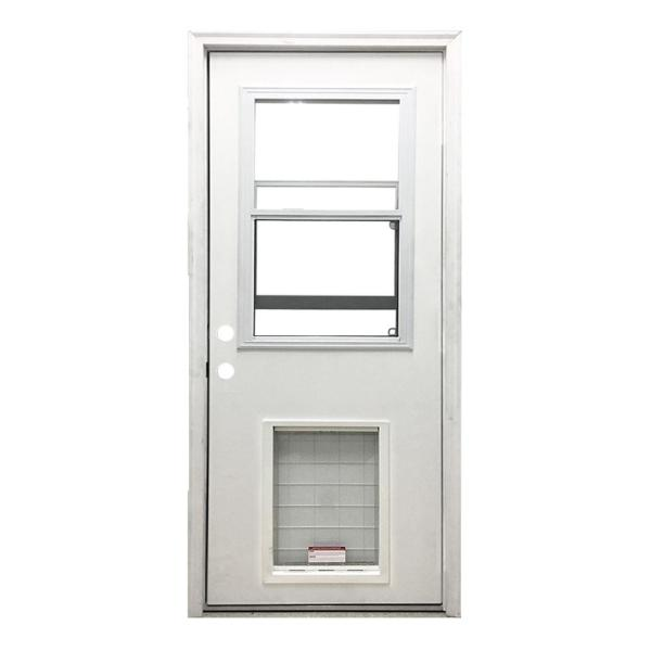 36 in. x 80 in. Classic Clear Vented Half Lite RHIS White Primed Fiberglass Prehung Back Door with SL Pet Door