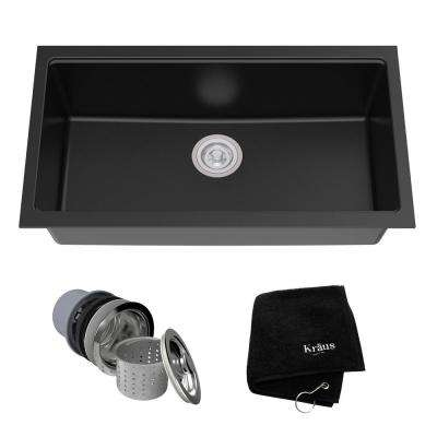 Undermount Granite Composite 32 in. Single Basin Kitchen Sink Kit in Black