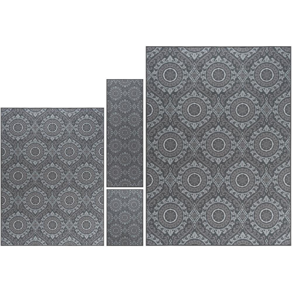 Tayse Majesty Charcoal (Grey) 7 ft. 6 in. x 9 ft. 10 in. ...