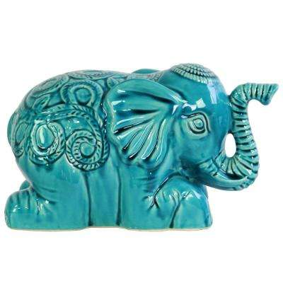 6 in. H Elephant Decorative Figurine in Turquoise Gloss Finish