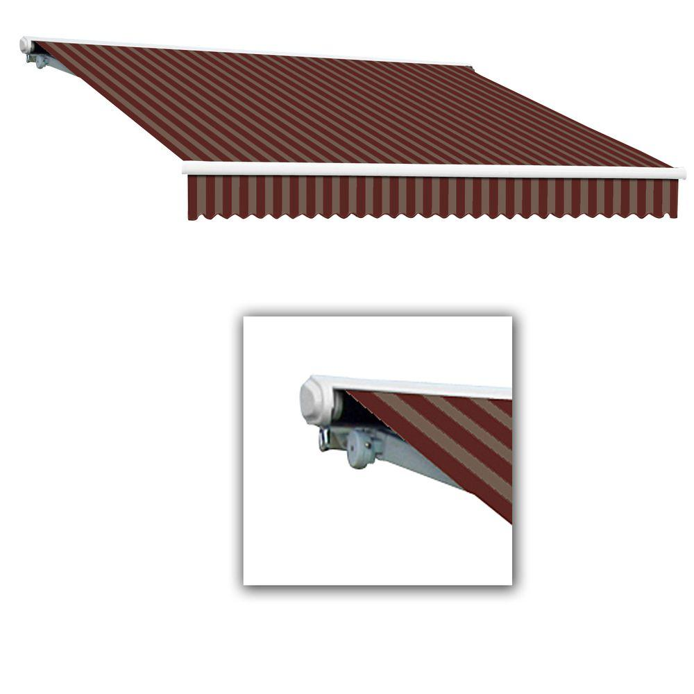 AWNTECH 12 ft. Galveston Semi-Cassette Left Motor with Remote Retractable Awning (96 in. Projection) in Burgundy/Tan