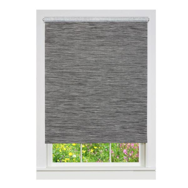 Achim Privacy Smoke Cordless Light Filtering Woven Poly Jute Roller Shade 24 In W X 72 In L Cps246sm01 The Home Depot