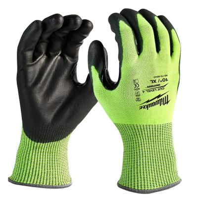 X-Large High Visibility Level 2 Cut Resistant Polyurethane Dipped Work Gloves (3-Pack)