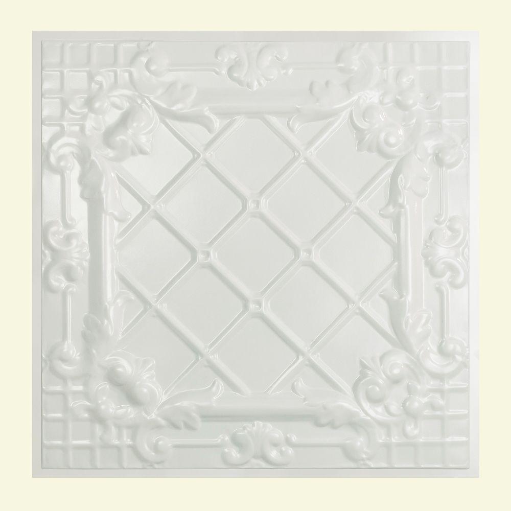 Toledo 2 ft. x 2 ft. Lay-in Tin Ceiling Tile in Matte White