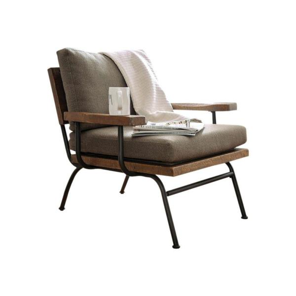 Fabric Upholstered Brown and Black Accent Chair
