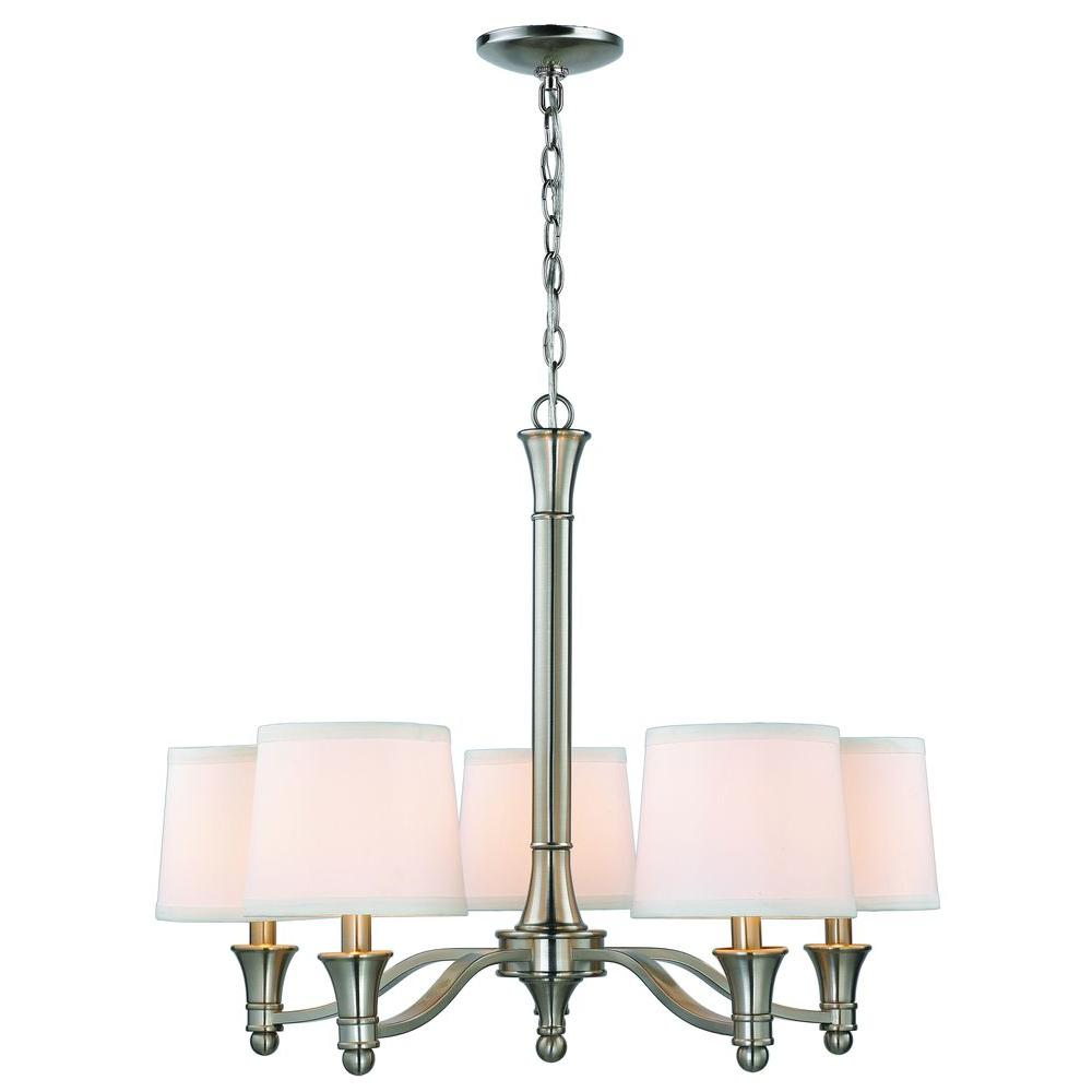 Halogen chandeliers lighting the home depot 5 light brushed nickel chandelier with white fabric shades arubaitofo Image collections