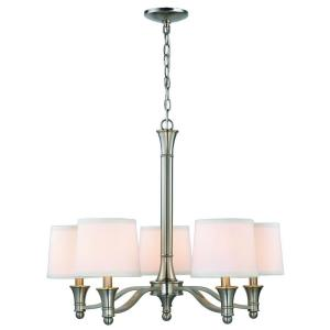 Hampton Bay 5-Light Brushed Nickel Chandelier with White Fabric Shades by Hampton Bay