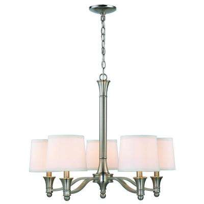 5-Light Brushed Nickel Chandelier with White Fabric Shades
