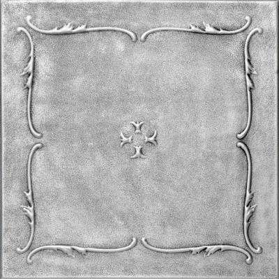 Spring Buds 1.6 ft. x 1.6 ft. Foam Glue-up Ceiling Tile in Antique Silver