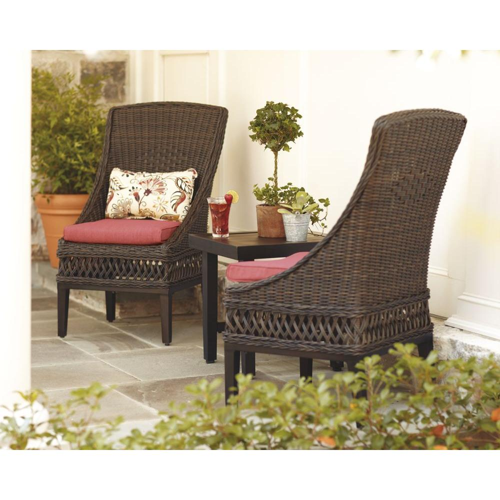 Hampton Bay Woodbury Wicker Outdoor Patio Dining Chair With Chili Cushion  (2 Pack)