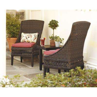 Woodbury Wicker Outdoor Patio Dining Chair with Chili Cushion (2-Pack)