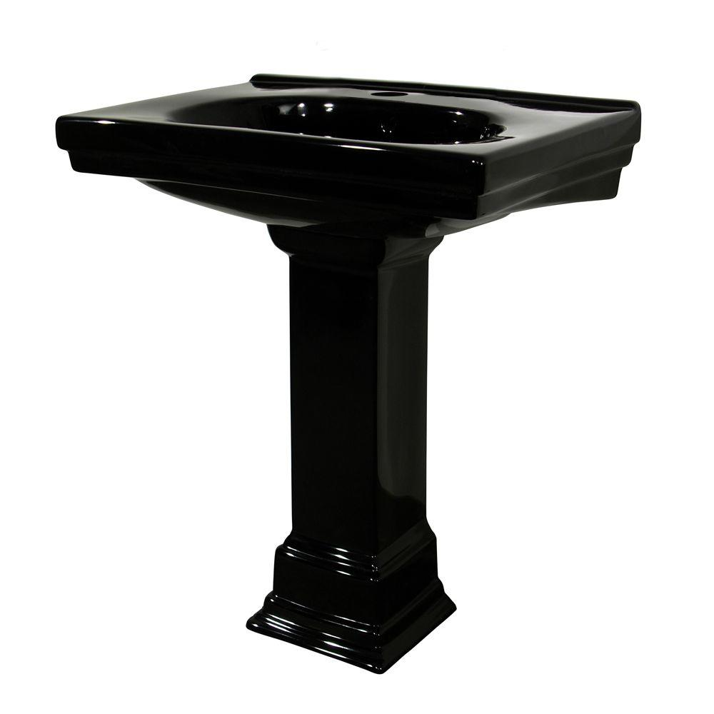 Foremost Structure Vitreous China Pedestal Bathroom Basin Combo in Black