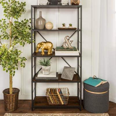 63 in. Dark Walnut/Black Metal 4-shelf Etagere Bookcase with Open Back