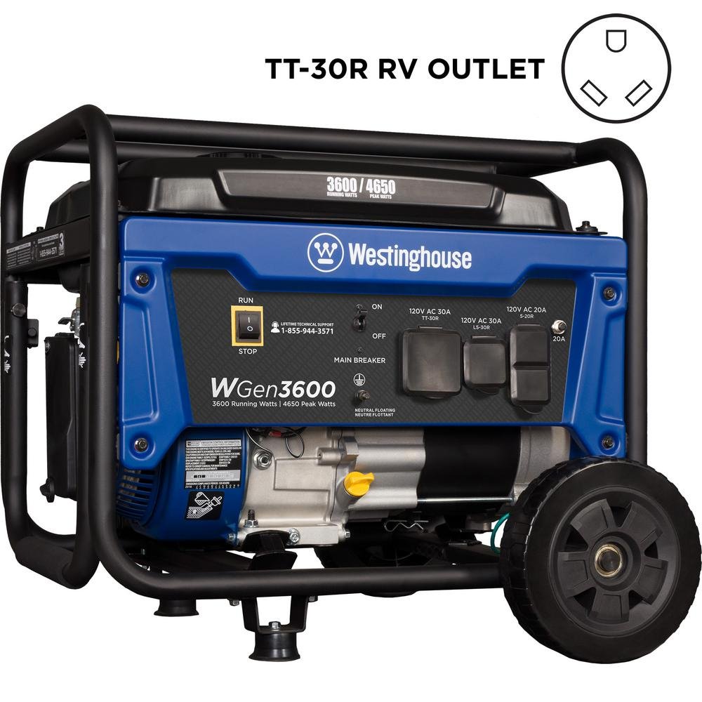 WGen 3,600/4,650-Watt Gasoline Powered Portable Generator with RV Ready TT-30R 30 Amp Receptacle and Wheel Kit