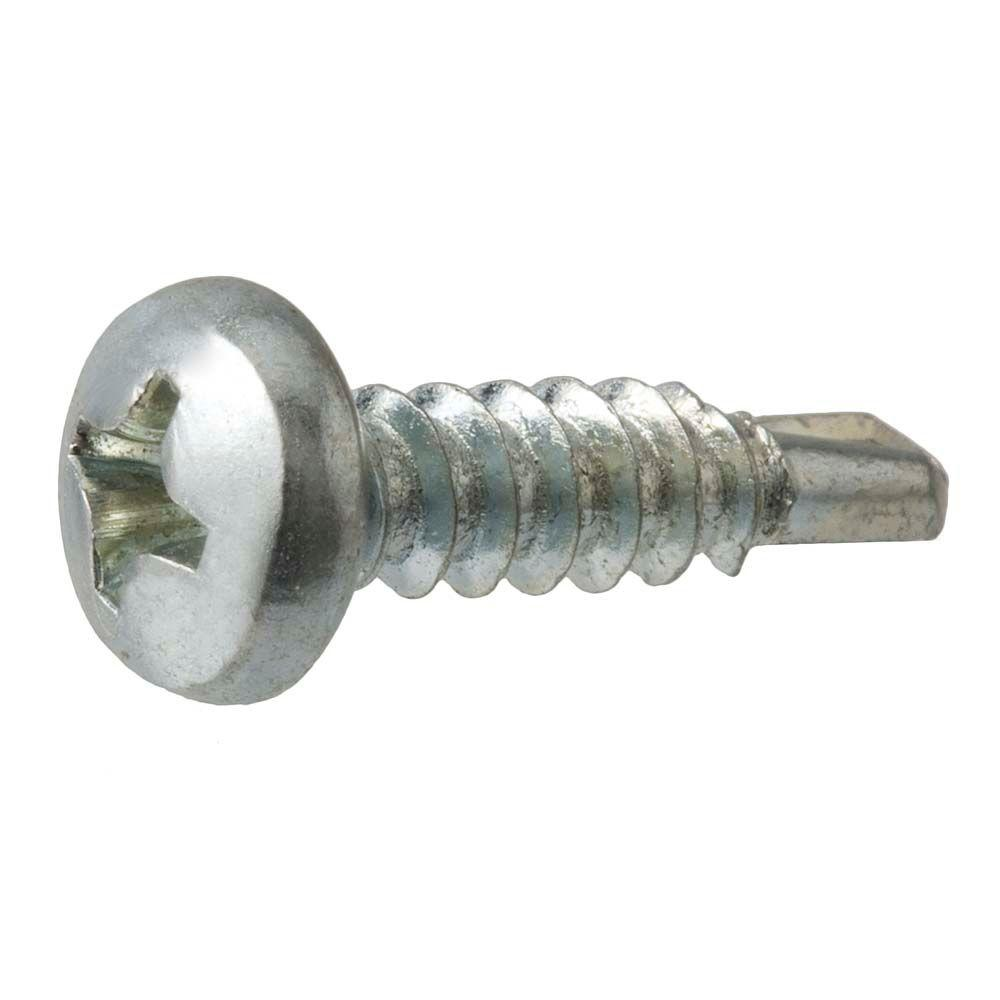 Zinc Plated Type B #8-18 Thread Size Steel Sheet Metal Screw Hex Washer Head Pack of 100 1-1//2 Length Hex Drive