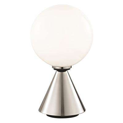Piper 13.25 in. Polished Nickel Small LED Table Lamp with Opal Glossy Glass and Black Accents
