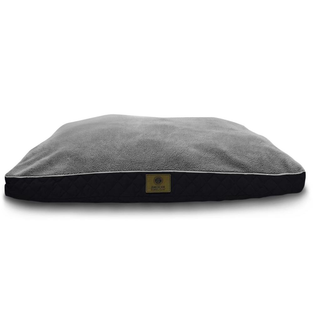 Deluxe X-Large 30x40 in. Black Fur Diamond Stitched Gusset Pet Bed
