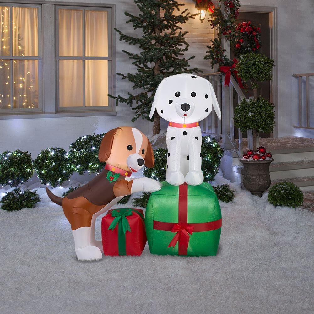 lighted inflatable puppies gift scene - Outdoor Lighted Dog Christmas Decorations