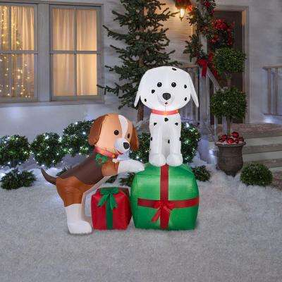 5 ft lighted inflatable puppies gift scene - Outdoor Dog Christmas Decorations