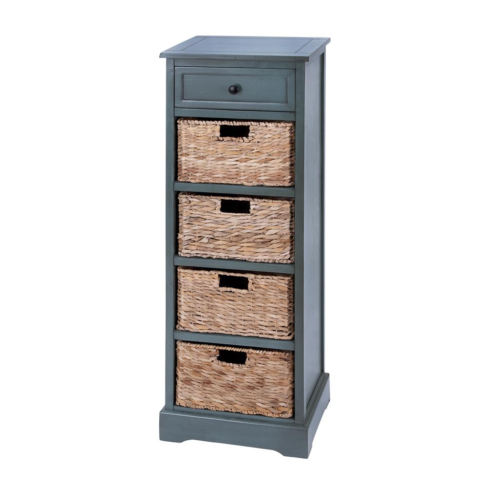 New Traditional 4 Drawer Blue Gray Wicker Basket Cabinet