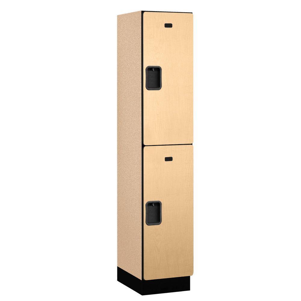22000 Series 2-Tier Wood Extra Wide Designer Locker in Maple - 15 in. W x 76 in. H x 18 in. D