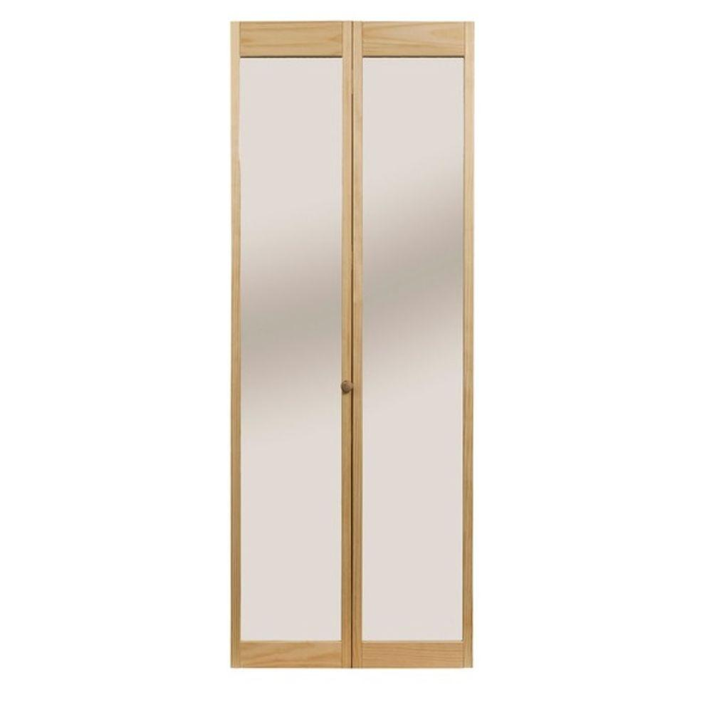 Pinecroft 30 in. x 80 in. Traditional Mirror Wood Universal/Reversible Interior Bi-fold Door