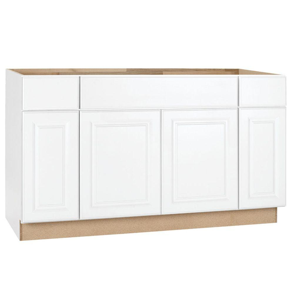H&ton Bay H&ton Assembled 60x34.5x24 in. Sink Base Kitchen Cabinet in Satin White  sc 1 st  The Home Depot : pictures of white kitchen cabinets - Cheerinfomania.Com