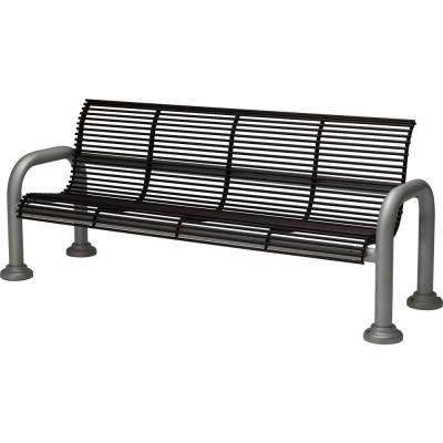 Harbor 6 ft. Contract Bench with Back in Textured Black