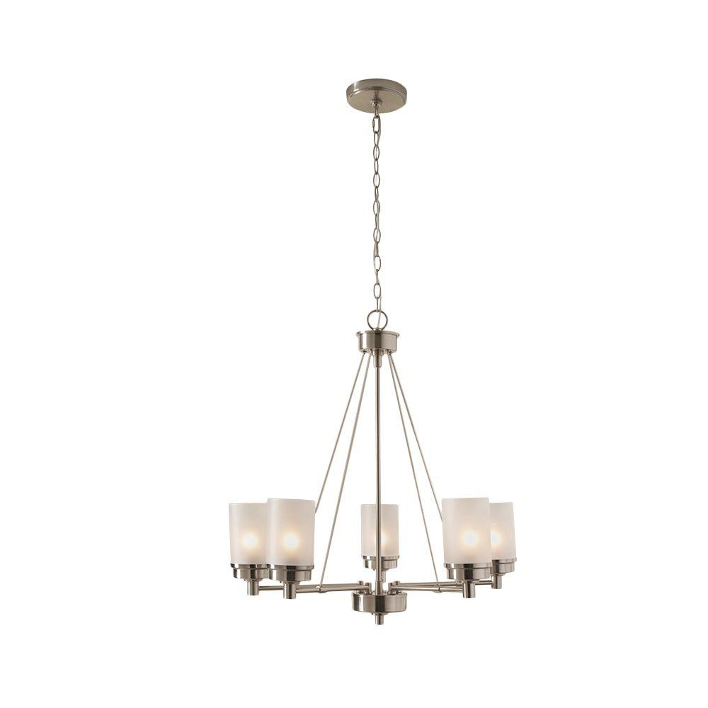Hampton Bay 5-Light Brushed Nickel Chandelier With Frosted