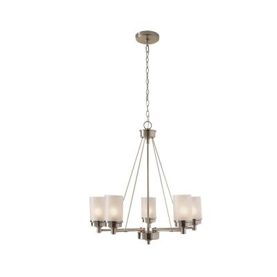 5-Light Brushed Nickel Chandelier with Frosted Glass Shades