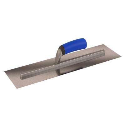 18 in. x 5 in. Long Shank Square End Finishing Trowel with Comfort Grip Handle