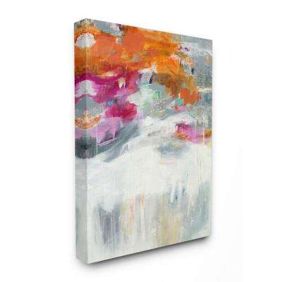 """24 in. x 30 in. """"Bright Sky Grey Ground Orange and Pink Abstract"""" by Jill Martin Canvas Wall Art"""