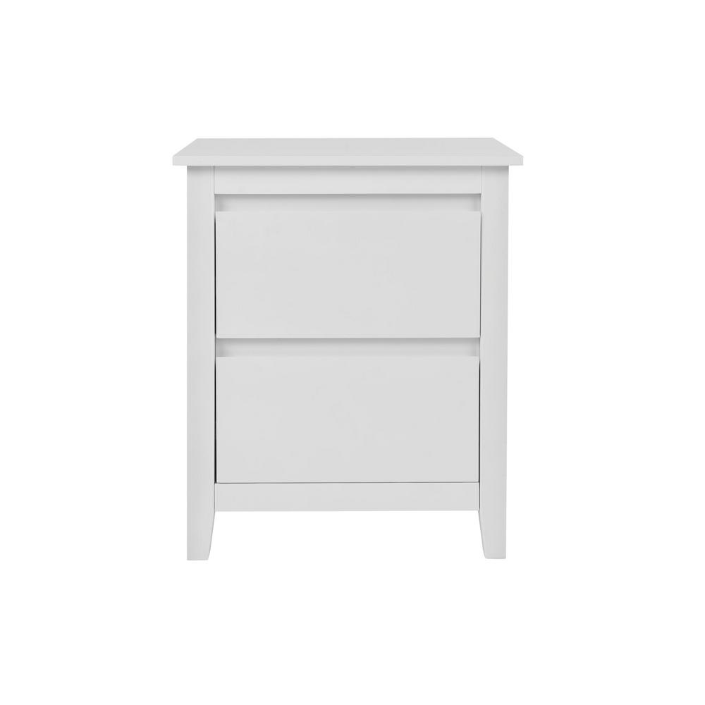 Stylewell Alanis 2 Drawer White Wood Nightstand 22 In W X 26 In H Bf 25649 Wh The Home Depot