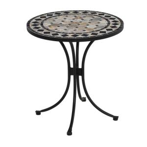 Home Styles 28 In Black And Tan Round Tile Top Patio