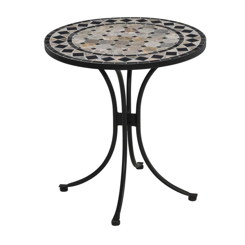 Homestyles 28 In Black And Tan Round Tile Top Patio Bistro Table