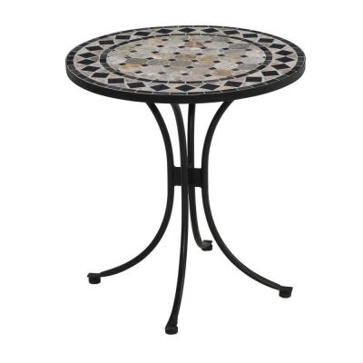 28 in. Black and Tan Round Tile Top Patio Bistro Table
