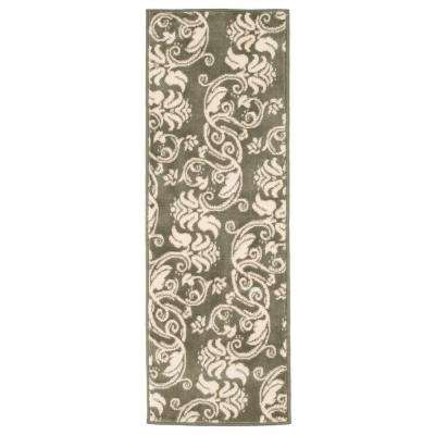 Floral Scroll Green 1 ft. 8 in. x 5 ft. Rug Runner