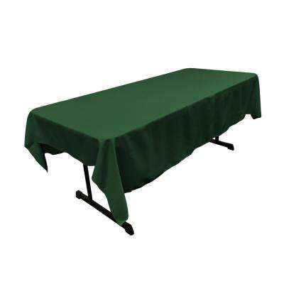60 in. x 90 in. Hunter Green Polyester Poplin Rectangular Tablecloth