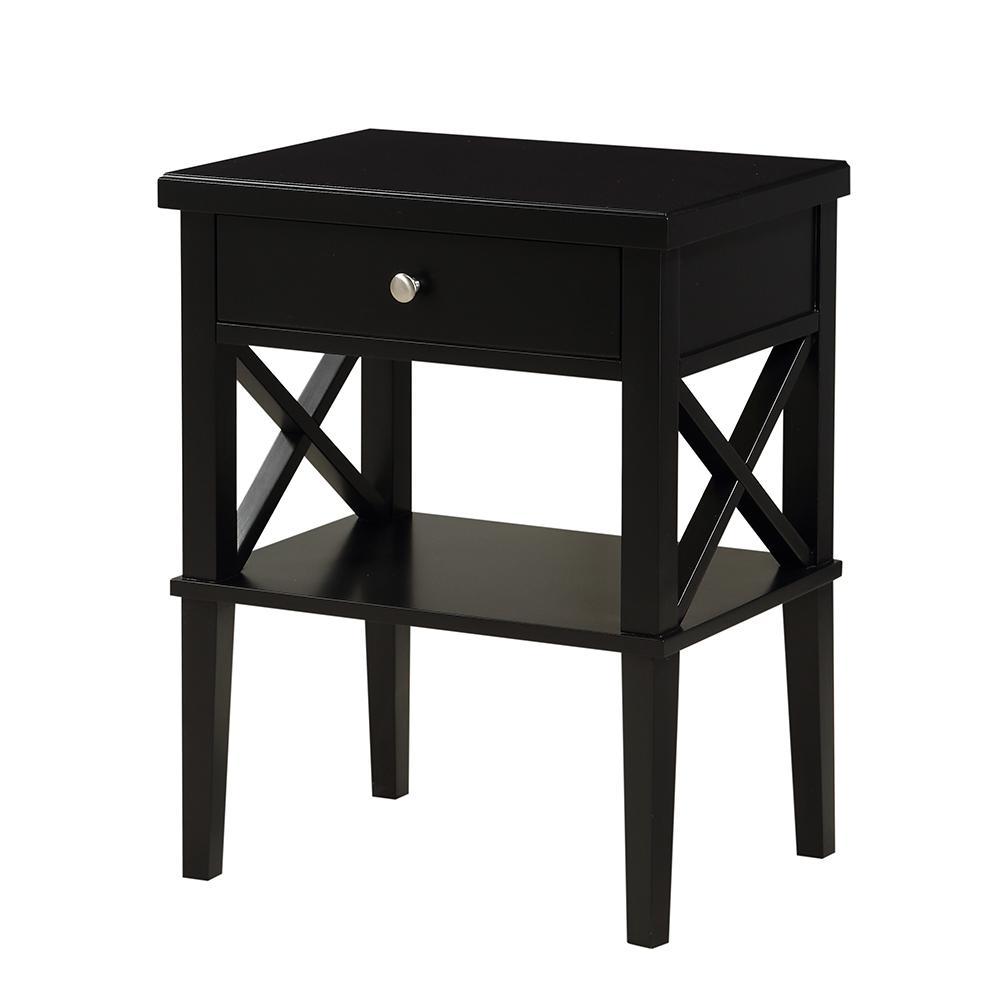Marta 1-Drawer Black Nightstand