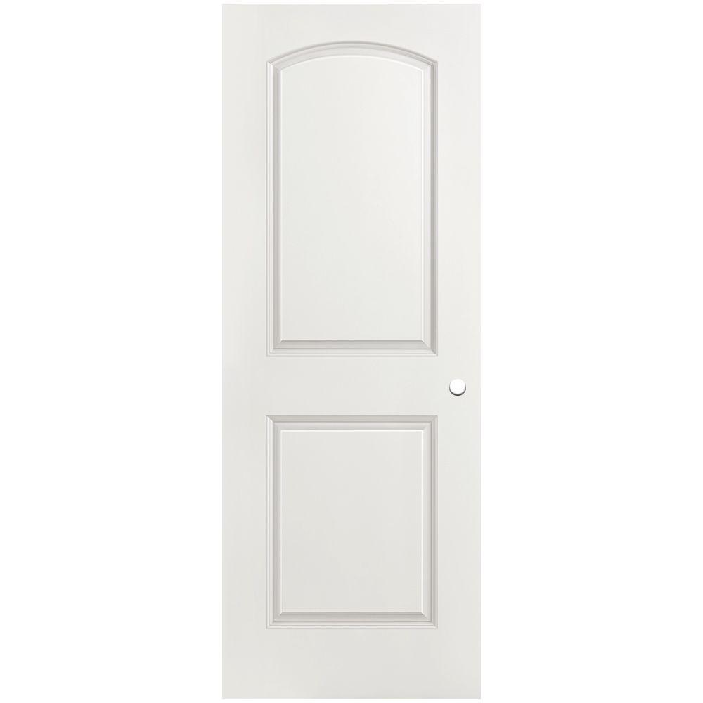 Masonite 30 in. x 80 in. Roman Primed Smooth 2 Panel Round Top Hollow Core Composite Interior Door Slab with Bore