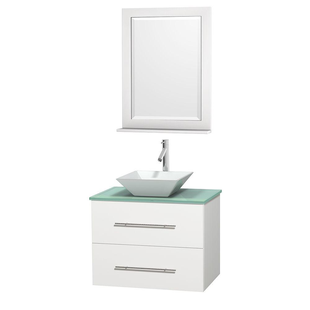 Wyndham Collection Centra 30 in. Vanity in White with Glass Vanity Top in Green, Porcelain Sink and 24 in. Mirror