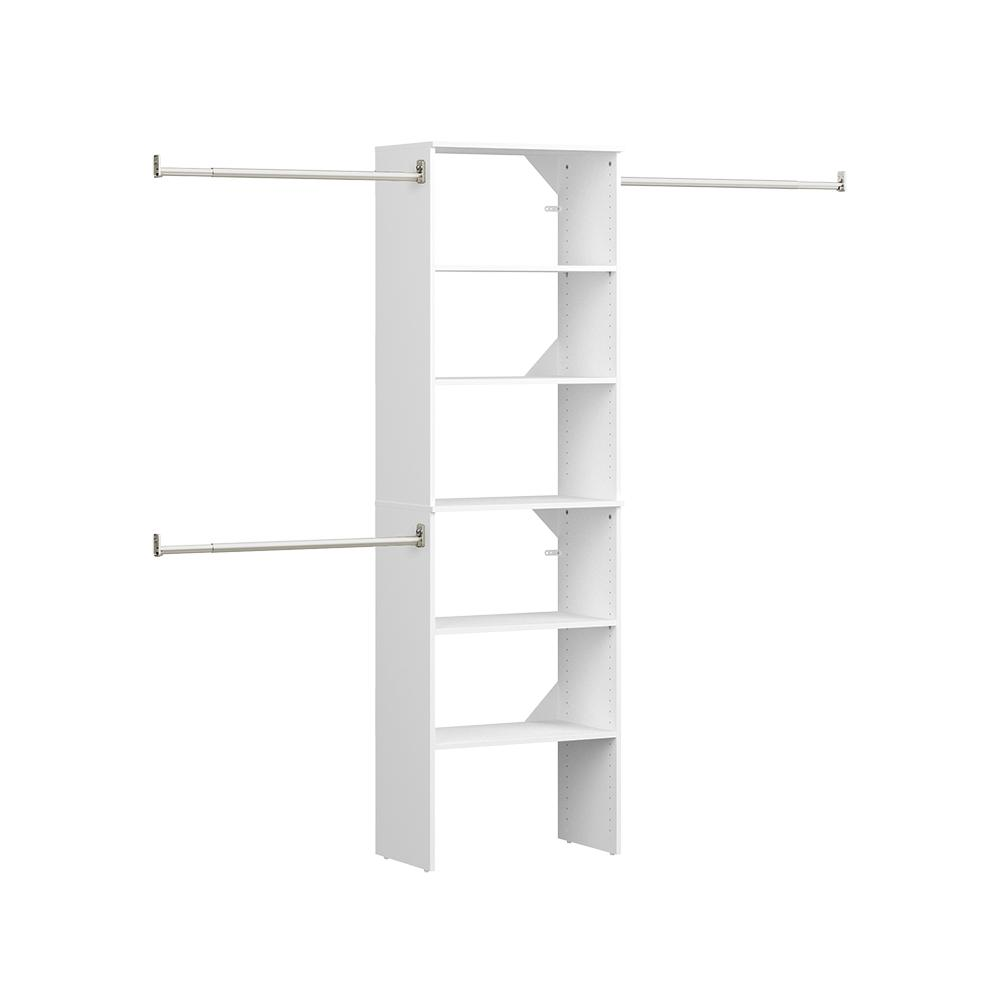ClosetMaid Style+ 16.97 in. D x 25.12 in. W x 82.46 in. H White Floor Mount 6-Shelf Wood Closet Kit With Hang Rods