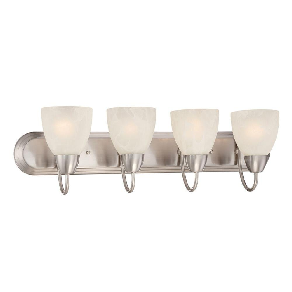 Torino 4 Light Brushed Nickel Bath Bar Light. Vanity Lighting   Lighting   The Home Depot