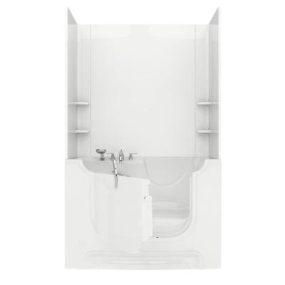 Universal Tubs Rampart Nova Wheelchair Accessible 5 ft. Walk-in Air Bathtub with Easy Up Adhesive Wall Surround in White