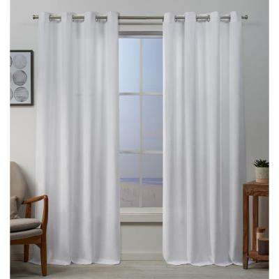Baxter 54 in. W x 84 in. L Textured Basketweave Grommet Top Curtain Panel in Winter (2-Panel)