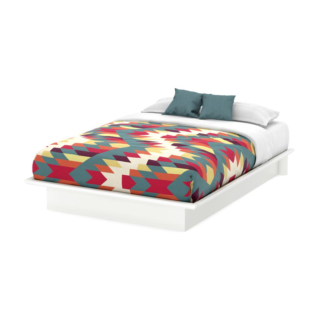 South Shore Step One Full-Size Platform Bed in Pure White