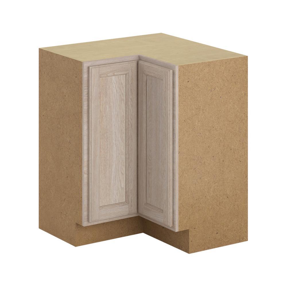 Hampton Bay Stratford Assembled 28.5x34.5x28.5 in. Lazy Susan Corner Base  Cabinet in Unfinished Oak