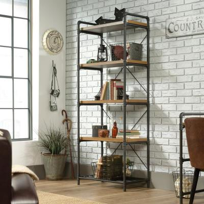 75.66 in. Checked Oak Metal 5-shelf Accent Bookcase with Open Back