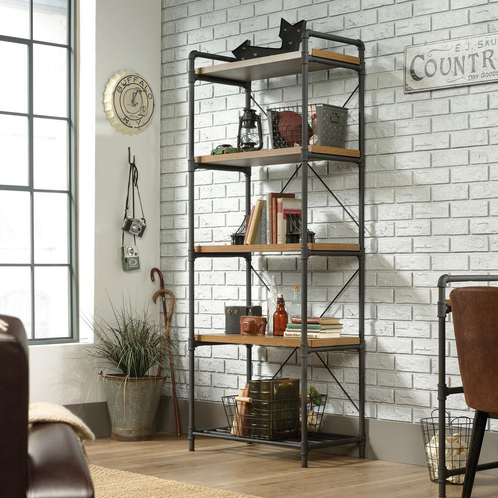 Iron City Checked Oak 5-Shelf Bookcase
